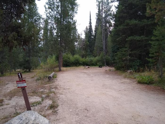 A long driveway leading to a single campsite.Site 1 at Edna Creek Campground.