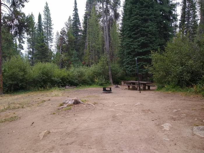 A campsite with a fire ring, table, and lantern hook.A closeup of Site 1 at Edna Creek Campground.