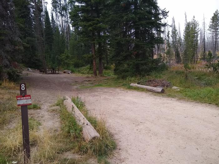 A long driveway to a single campsite.Site 8 at Edna Creek Campground has a very long driveway with partial shade.