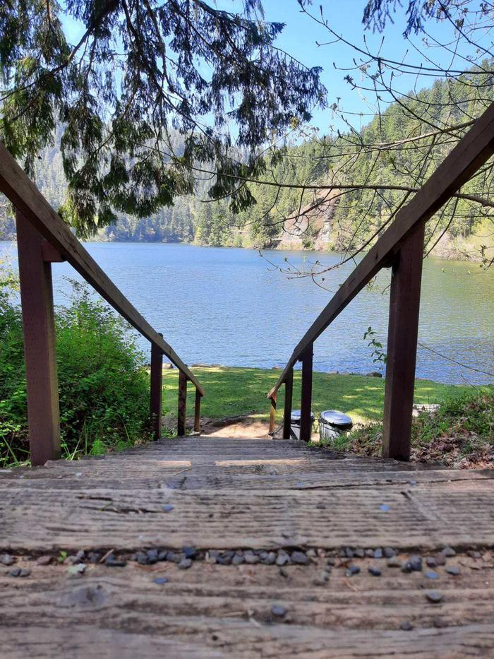 East Shore Stairs down to kayak or canoe launchStairs to Loon Lakee from East Shore day use