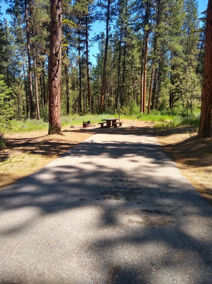 A paved driveway leading to a single campsite.Site 9 has a long paved driveway.