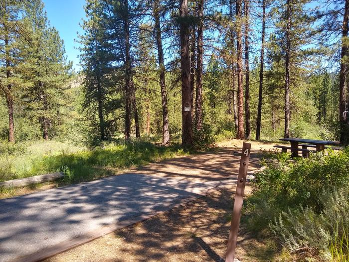 A paved driveway leading to a campsite.Site 4 at Grayback Gulch.