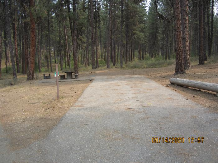 Paved driveway leading to a spacious single campsite.Site 13 at Grayback Gulch.