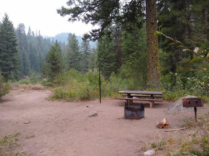 A camping spot with a picnic table, fire ring, grill, and lantern hook, surrounded by forest.Bad Bear Site 5.