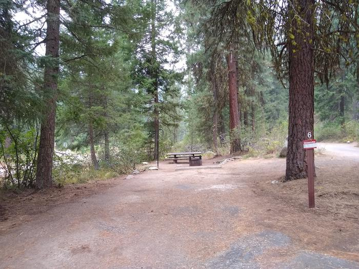 A paved driveway leading to a single campsite.Bad Bear Site 6.