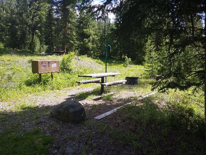 Threemile Campground Campsite 11 with picnic table, bear box, and fire ringThreemile Campground Campsite 11