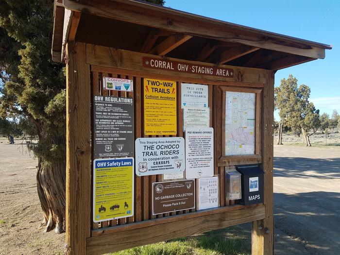 Information kiosk at Corral Off Highway Vehicle Staging Area