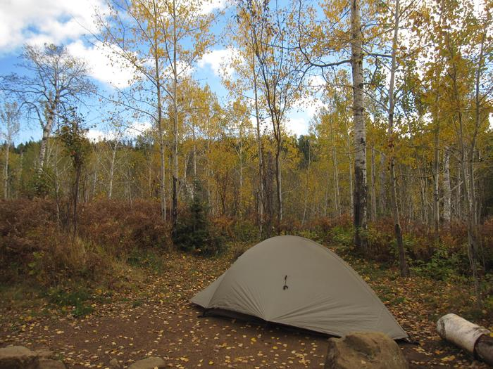 East Chickenbone Campground Tent SiteTent in East Chickenbone Campground during fall.