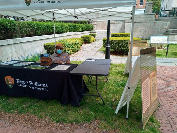 Ranger ready to offer information at the Outdoor Visitor Center