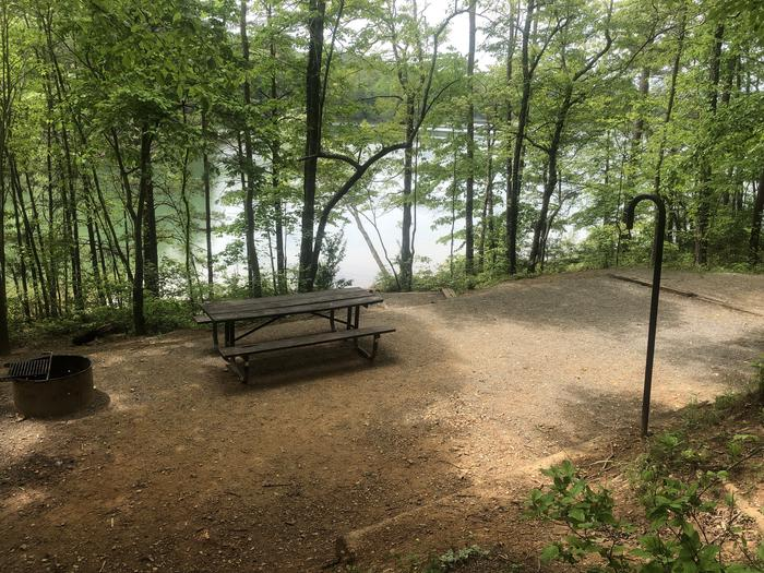 Lakeside dining area and tent pad