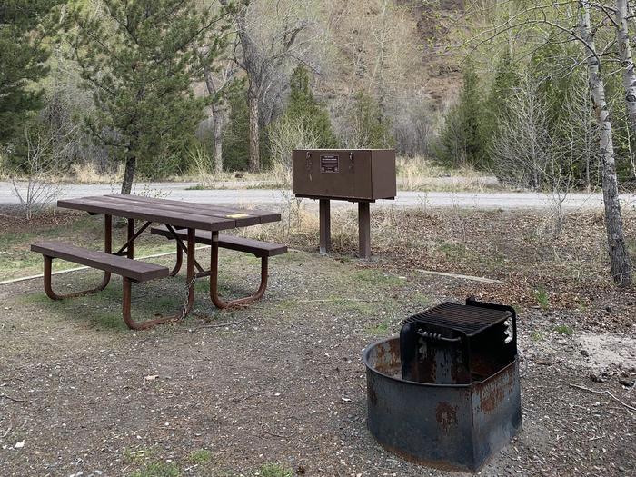 Wapiti Campsite 13, picnic table, fire ring, trees  Wapiti Campsite 13