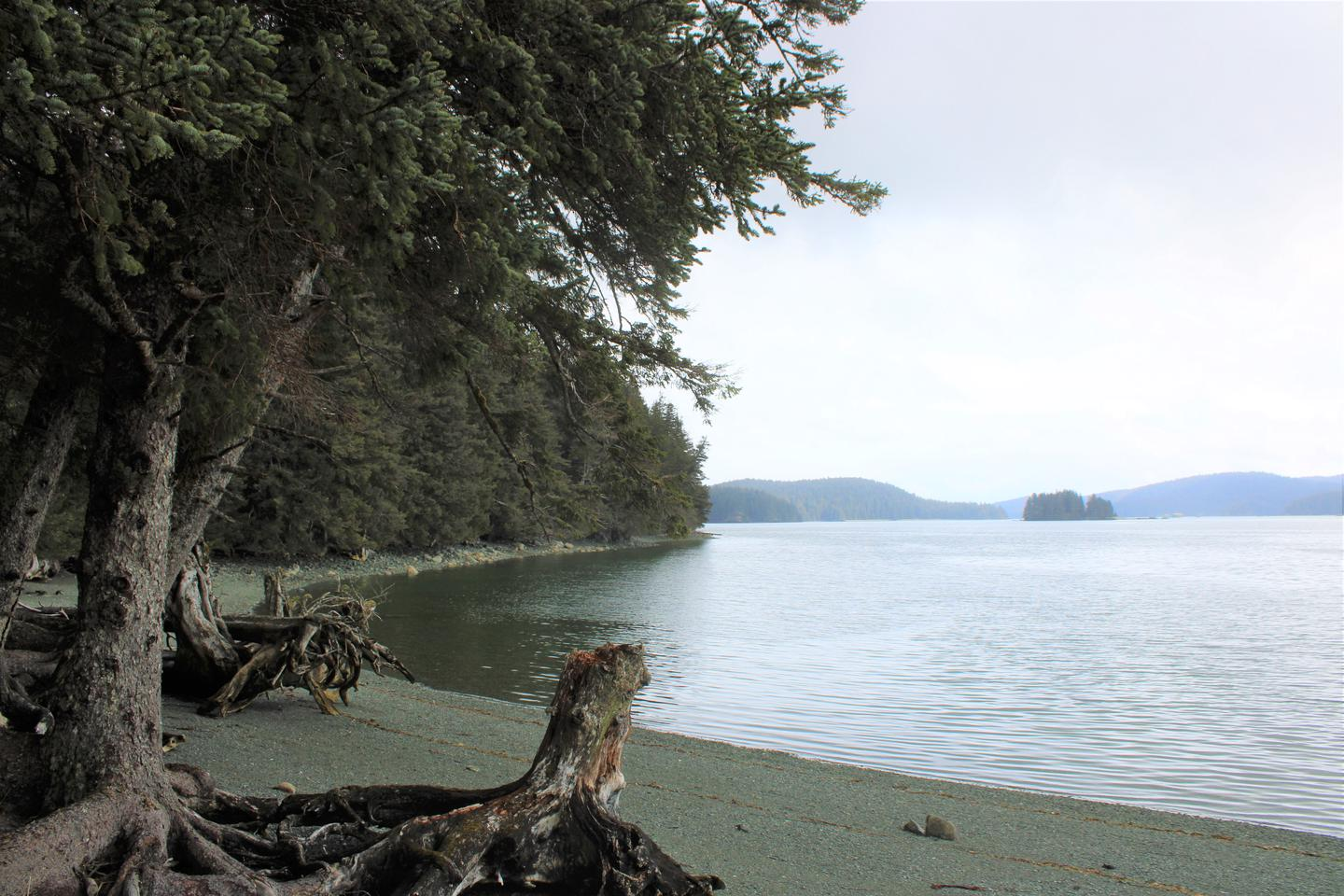 view of the water from the beachView from Blue Fox Bay Cabin