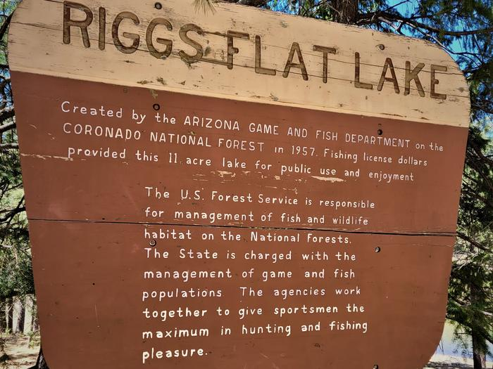 Riggs Flat Lake Sign