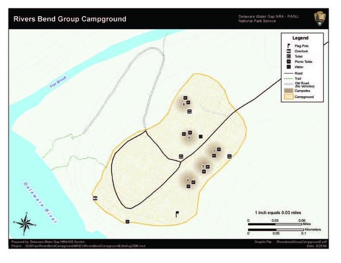 Map of Rivers Bend Group Campground