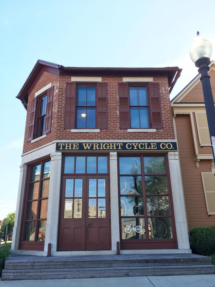 Wright Cycle Company Bike ShopA front view of the building housing The Wright Cycle Company bike shop.