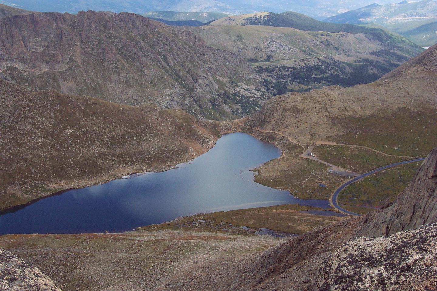View of Summit Lake from summit of Mount Evans