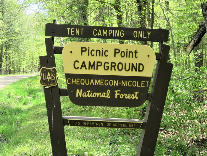 Picnic Point entrance signEntrance sign for the Picnic Point campground