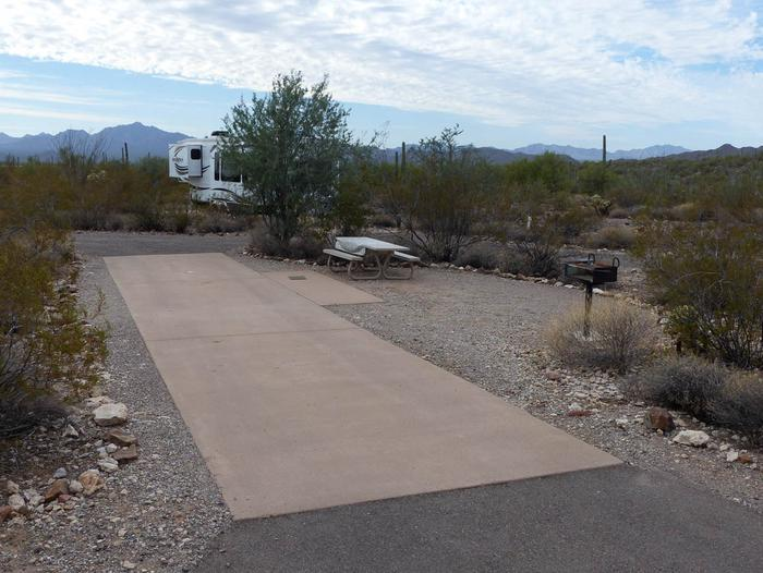 Pull-thru campsite with picnic table and grill, cactus and desert vegetation surround site.  Site 16