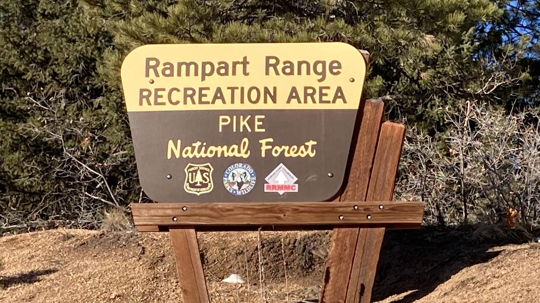 Rampart Range Recreation Area on the Pike National ForestSign of the Rampart Range Recreation Area on the Pike National Forest