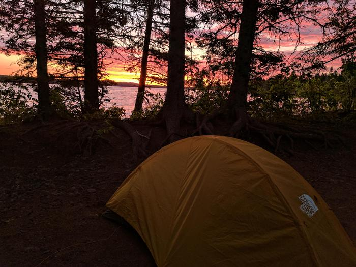 Sunrise at Feldtmann Lake CampgroundFeldtmann Lake Campground awaits off the typical Isle Royale backpacking routes.