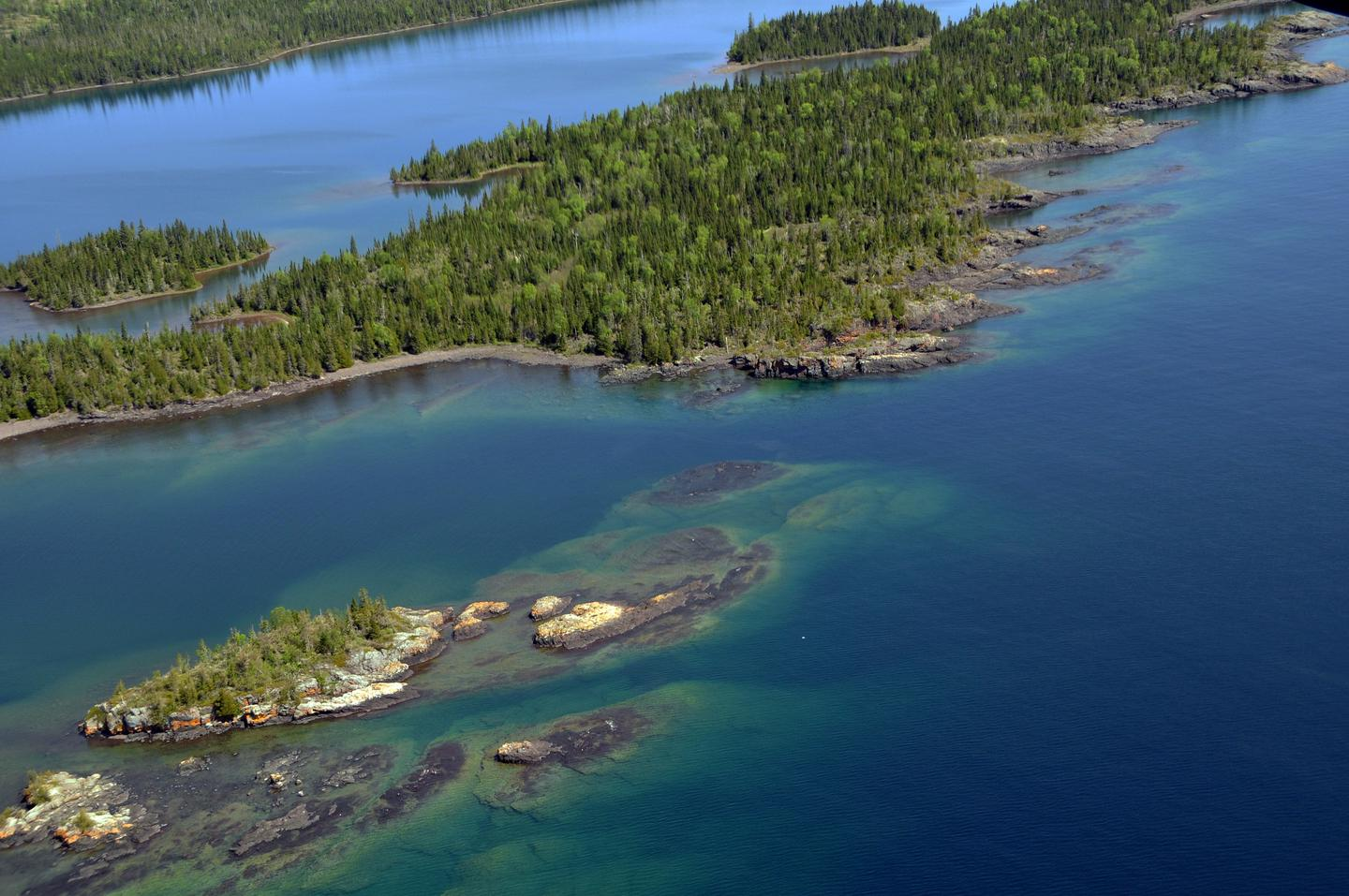 Aerial View of West Caribou IslandWest Caribou Island is a popular campground for boaters.