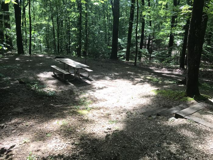 5 steps down to picnic table area