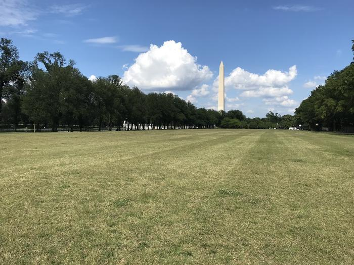 The photo shows a grassy field with trees and the Washington Monument in the backgroundLincoln Memorial Grounds Mixed Use Fields