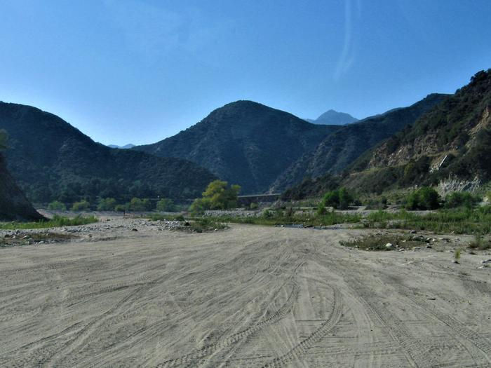 San Gabriel Canyon OHV Area  Looking NorthLooking north at the East Fork Bridge in the distance across the sandy river bottoms of the San Gabriel Canyon OHV Area.