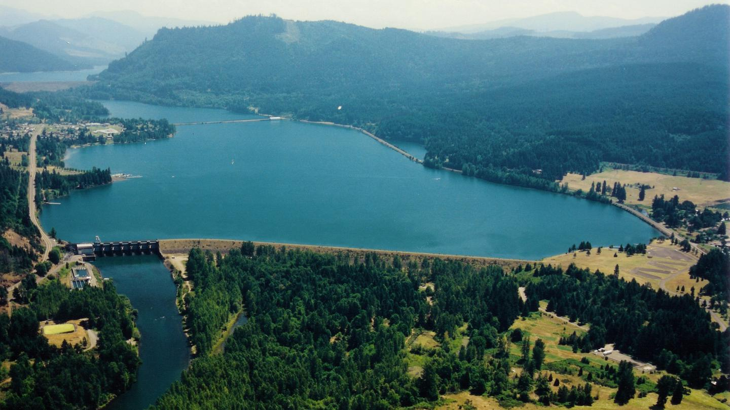 Aerial view of Dexter LakeDexter Lake and dam