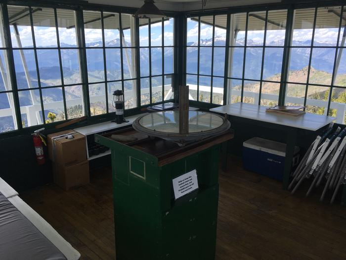 Medicine Point Lookout insidean old alidade inside a fire lookout