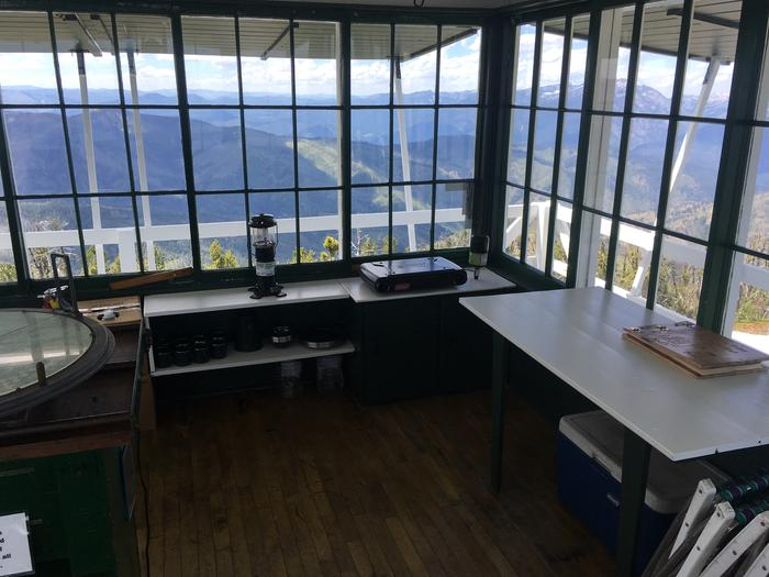 Medicine Point Lookout inside looking outView from inside an old fire lookout