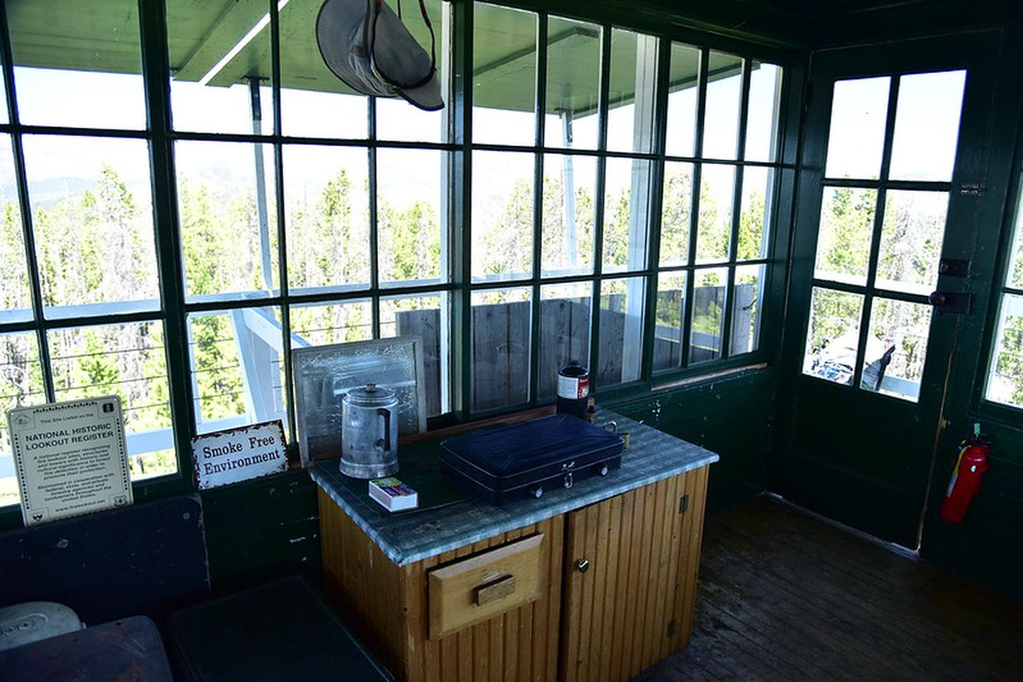 McCart Lookout cook stovecook stove inside lookout