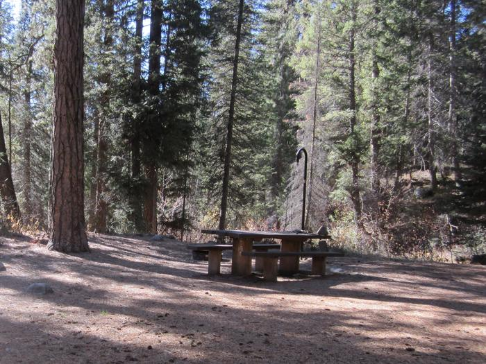 A partially shaded camping spot at Ten Mile Campground.Ten Mile campground has convenient camping off Hwy 21, with proximity to Ten Mile Creek.