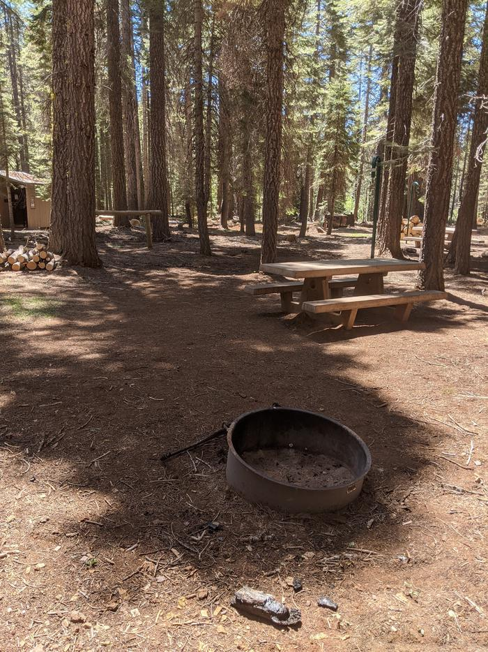 Horse Camp Site 1 photo 2Horse Camp site 1 with fire ring, picnic table, horse hitch, and nearby restroom.