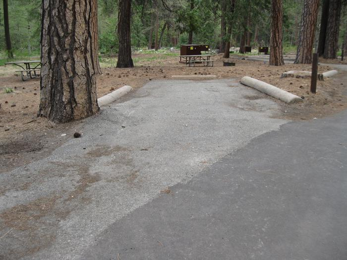 North Pines campground site 316 parking pad