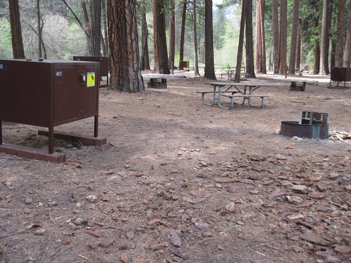 North Pines campground site 402 tent area