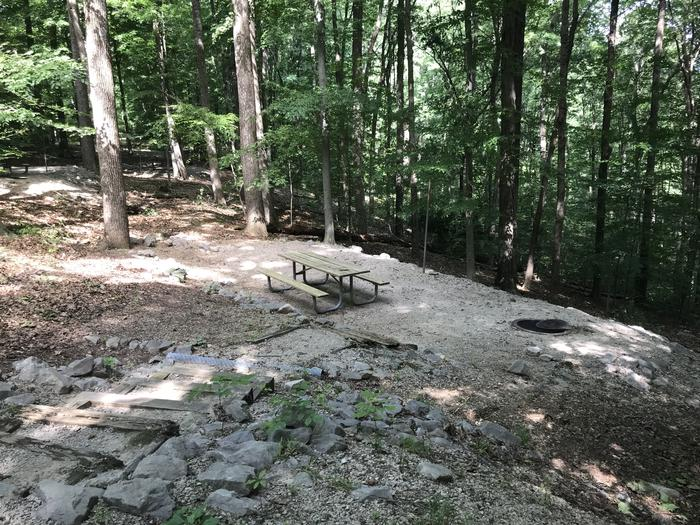 About 10 steps down to a very nice tent pad campfire ring area