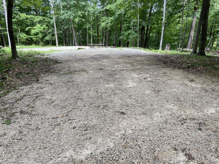Large parking gravel area at the back of the loop