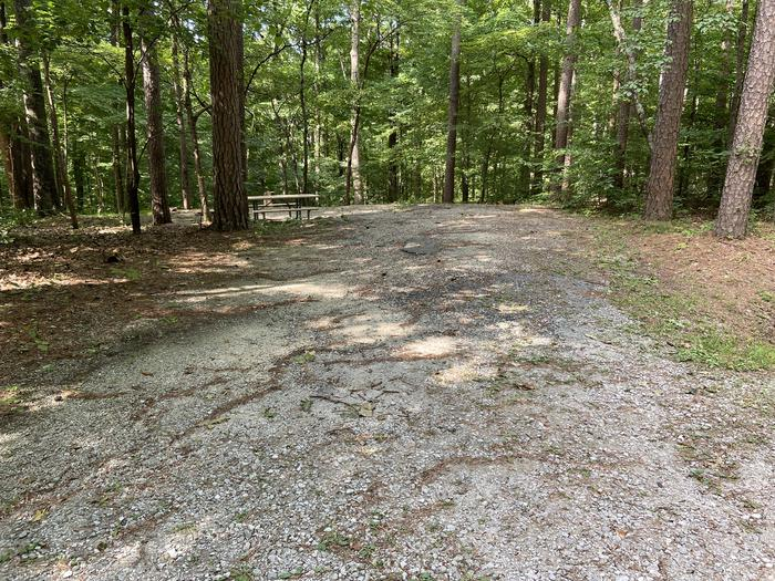 Gravel site across from restroom