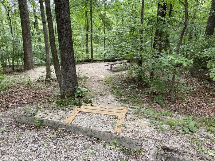 Steps lead down to tent and table area. Overlooks wooded ravine