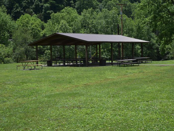 Shelter can accomodate up to 100 people. Access to river outflow for fishing or kayak activities. Lights, water, and electrical are provided at or near the shelteShelter 1