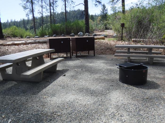 Campsite 7D2 bear boxes, 2 picnic tables and fire ring