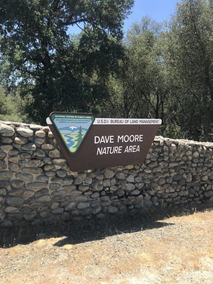 Dave Moore Nature Area Entrance SignDave Moore Nature Area Entrance Sign and Cobblestone Wall