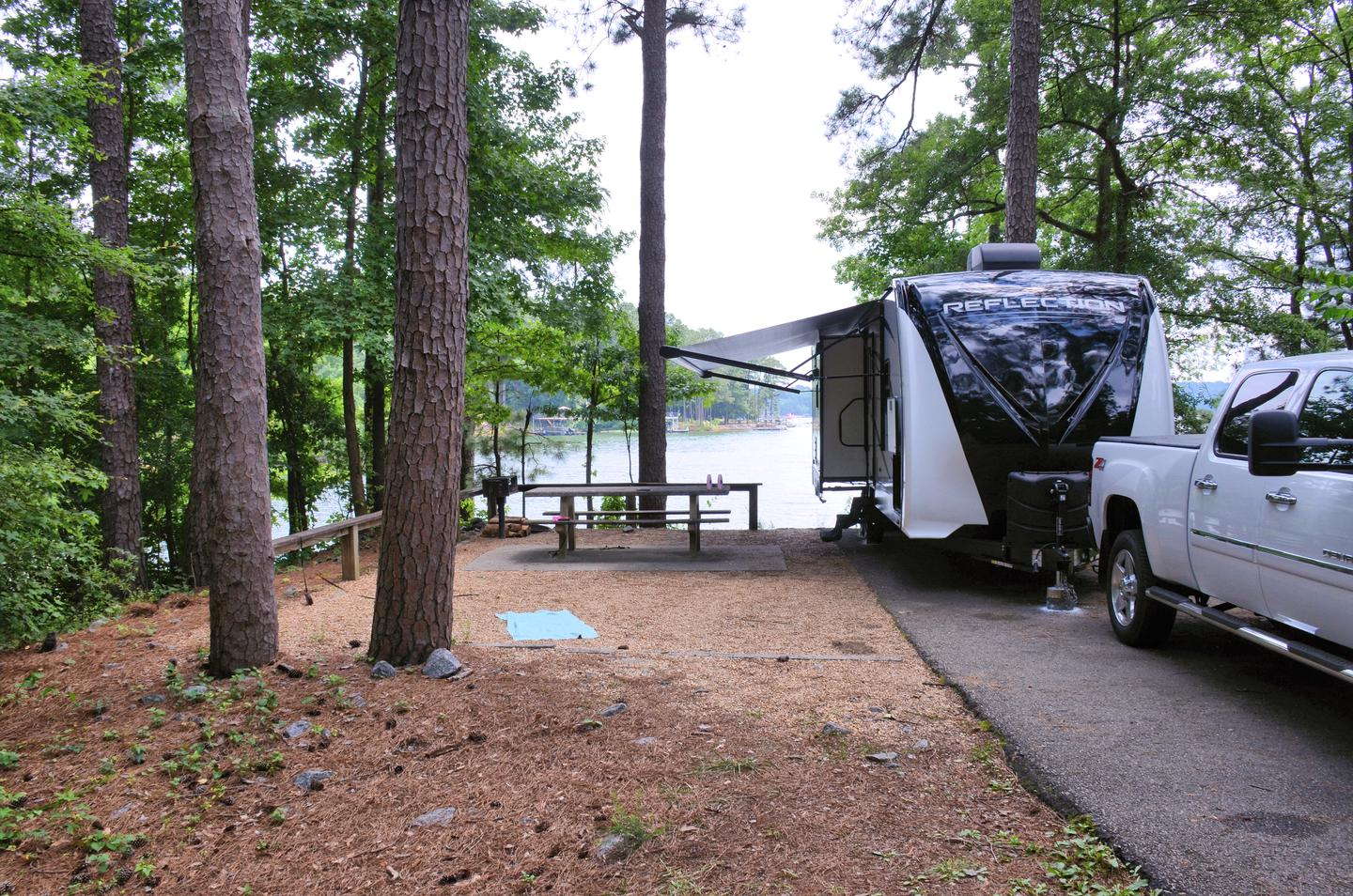 Awning-side clearance, campsite view..Victoria Campground, campsite 25
