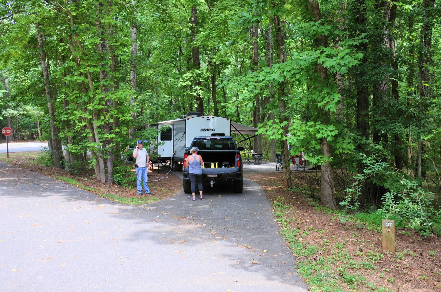 Pull-thru entrance, driveway slopeVictoria Campground, campsite 37.