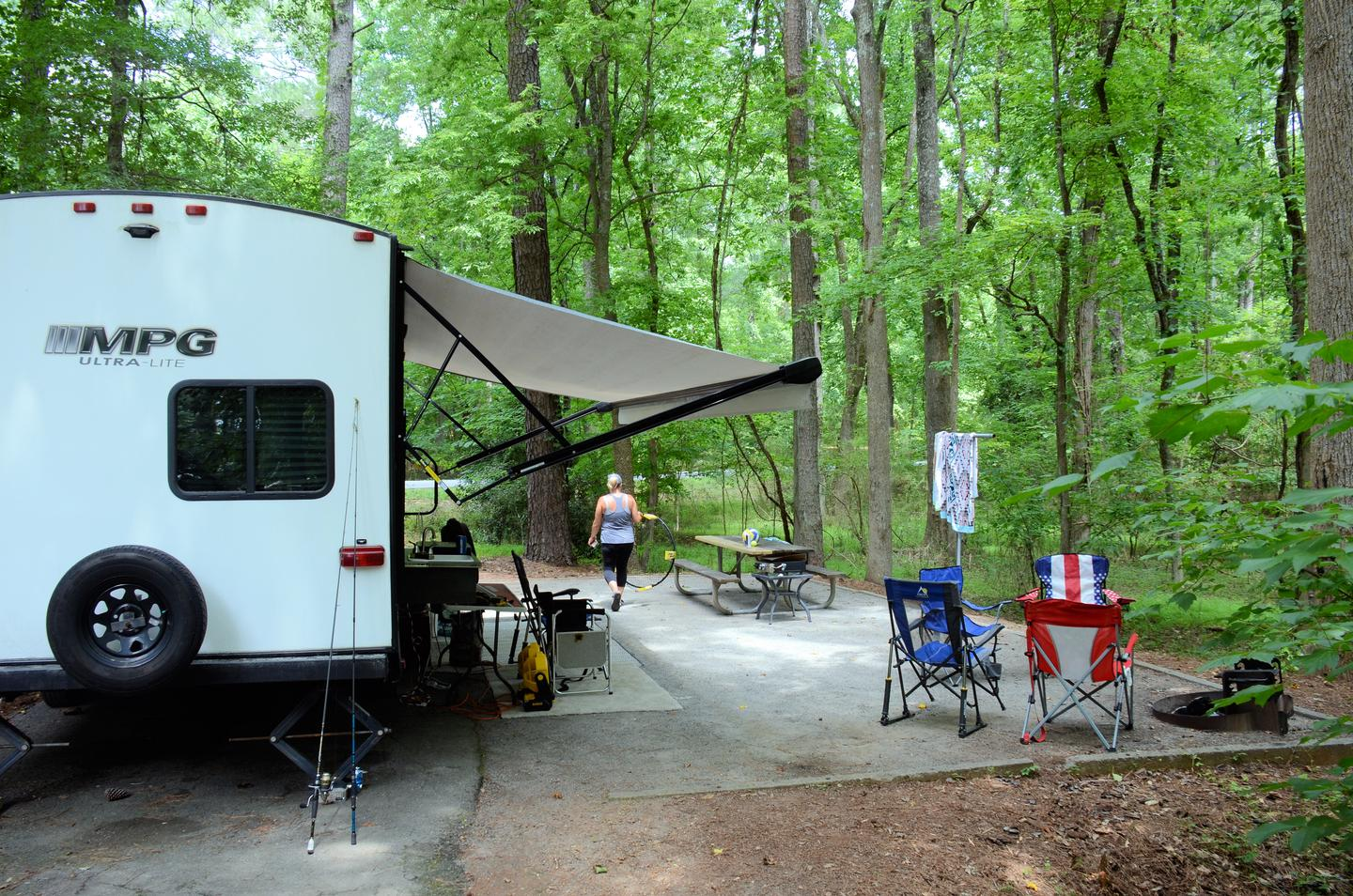Awning-side clearance, campsite view..Victoria Campground, campsite 37.