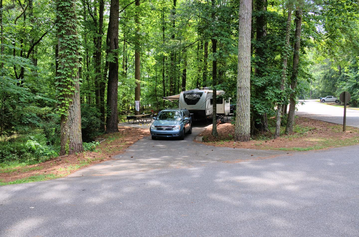 Pull-thru exit, driveway slopeVictoria Campground, campsite 37.