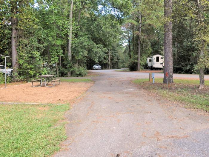 Pull-thru entrance, driveway slopeVictoria Campground, campsite 50.