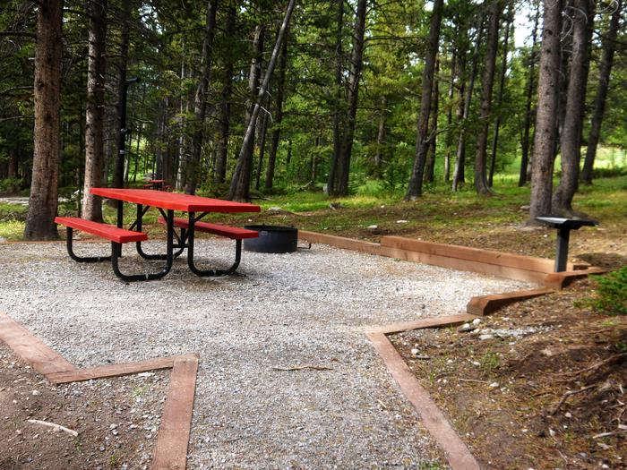 Picnic table, fire ring and grill in forest settingCampsite in Lakeview Campground