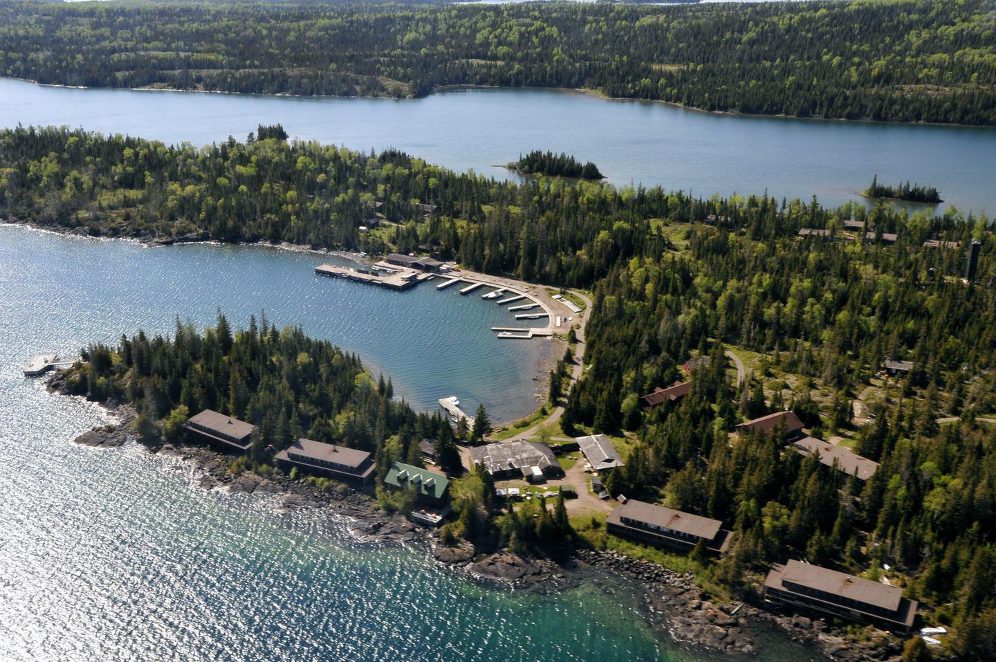 Aerial View of Rock HarborThe Rock Harbor Lodge provides amenities and lodging to the Rock Harbor area.